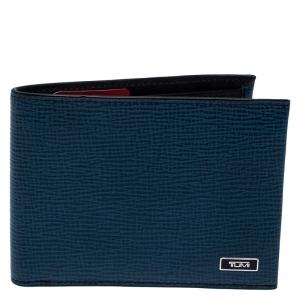 Tumi Blue ID Lock Leather Double Billfold Wallet