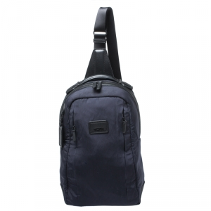 TUMI Navy Blue Nylon and Leather Sling Backpack