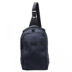 حقيبة ظهر تومي حمالة كتف نايلون و جلد أزرق كحلي