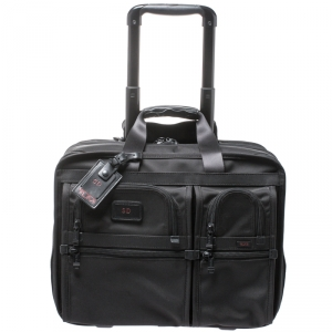Tumi Black Nylon Alpha Deluxe Roller Briefcase