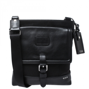 TUMI Black Nylon and Leather Messenger Bag