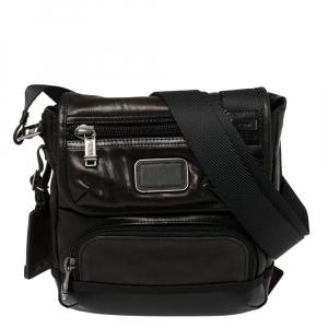 Tumi Dark Brown/Black Leather Alpha Bravo Barstow Messenger Bag
