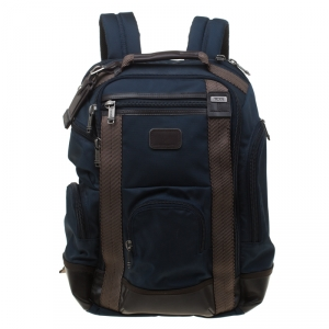 TUMI Navy Blue/Brown Nylon and Leather Alpha Bravo Shaw Backpack