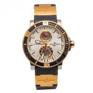 ساعة رجالية أوليس ناردين ذهب وردي وتيتانيوم Maxi Marine Diver فضية 45 مم