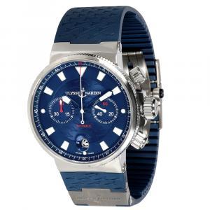 Ulysse Nardin Blue Stainless Steel 353-68 Men's Wristwatch 41 MM