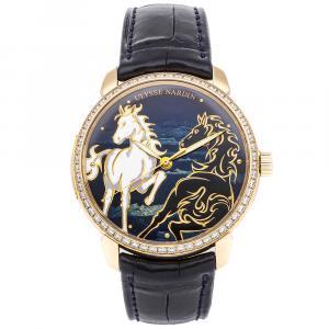 Ulysse Nardin Blue Diamonds 18K Rose Gold Classico Horse 8156/111B-2/CHEV Men's Wristwatch 40 MM