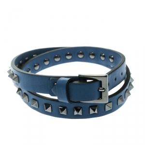 Valentino Rockstuds Blue Leather Gunmetal Tone Double Wrap Bracelet