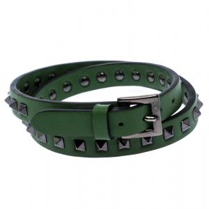 Valentino Rockstud Green Leather Gunmetal Tone Wrap Bracelet