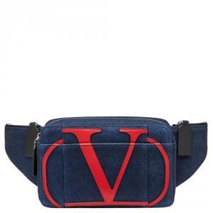 Valentino Blue Denim VLOGO Belt Bag