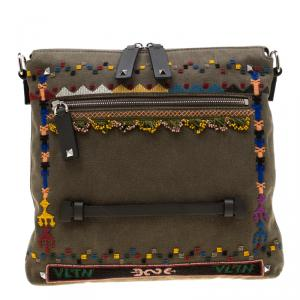 Valentino Olive Canvas Rockstud Bordado Messenger Bag