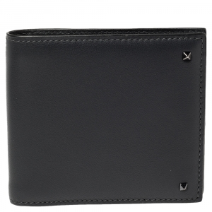 Valentino Dark Grey Leather Rockstud Bifold Wallet
