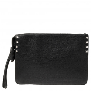 Valentino Black Leather Small Rockstud Clutch