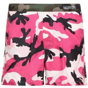 Valentino Pink/Army Camouflage Printed Nylon Swimsuit XL