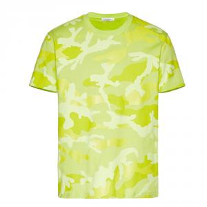 Valentino Green Cotton Camouflage Crew Neck T Shirt S