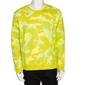 Valentino Neon Yellow Camouflage Print Jersey Crew Neck Sweatshirt S