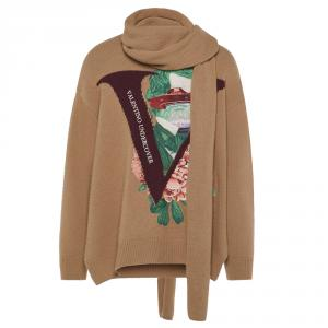Valentino Brown Wool V Face Rose Embroidery with Scarf Zippered High-Neck Sweater M