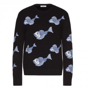 Valentino Black Wool with All Over Fishrain Inlay Crew Neck Sweater M