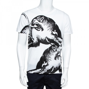 Valentino White Panther Print Cotton Crew Neck T-Shirt S -