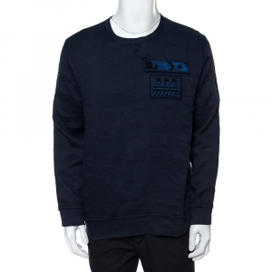 Valentino Indigo Blue Cotton Beaded Military Long Sleeve T-Shirt XS - used