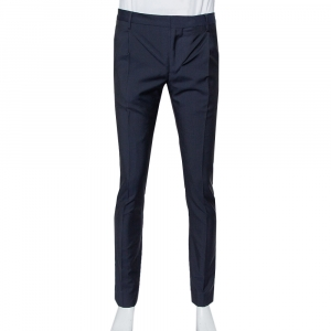 Valentino Navy Blue Wool & Mohair Mid Rise Trousers XS