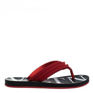 Valentino Red Neoprene and Leather VLTN Flip Flops Size 44