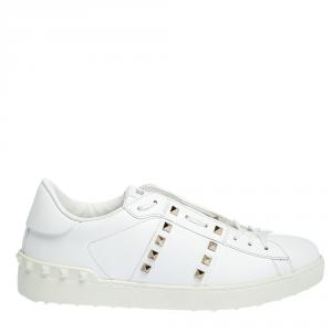 Valentino White Leather Rockstud Untitled Sneakers Size 39