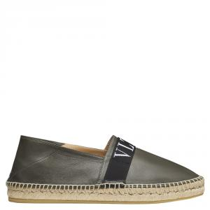 Valentino Military Green Leather VLTN Espadrille Slip On Sneakers Size 39