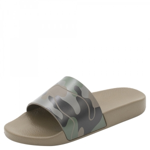 Valentino Army Green/Brush Wood Rubber Camouflage Slides Size 45