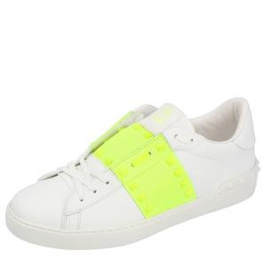 Valentino White Open Rockstud Leather Sneakers Size 43