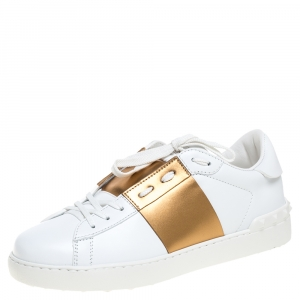 Valentino White and Metallic Gold Band Leather Open Low Top Sneakers Size 40