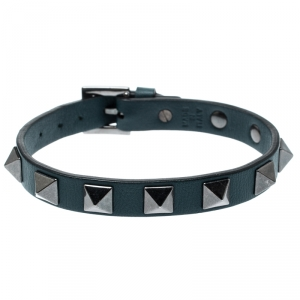 Valentino Rockstud Teal Blue Gunmetal Tone Leather Bracelet