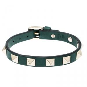Valentino Rockstud Green Gold Tone Leather Bracelet