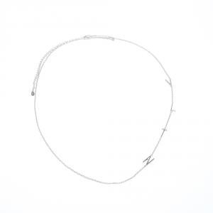 Valentino VLTN Logo Detail Silver Tone Long Necklace