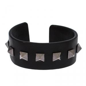 Valentino Rockstud Black Leather Open Cuff Bracelet