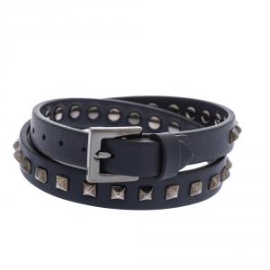 Valentino Rockstud Navy Blue Leather Gunmetal Tone Double Wrap Bracelet