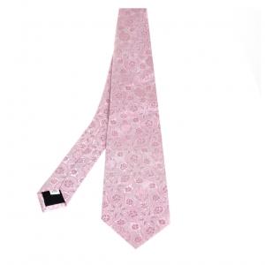 Valentino Pink Floral Jacquard Silk Tie