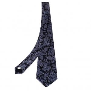 Valentino Black Floral Jacquard Silk Tie