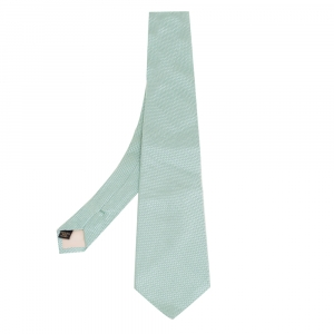 Valentino Green Textured Pattern Silk Tie