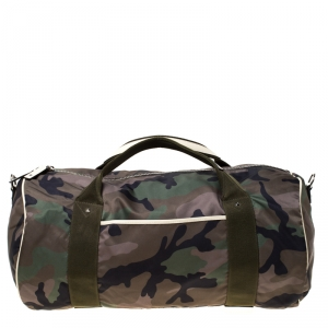 Valentino Green Camouflage Print Nylon Rockstud Duffle Bag