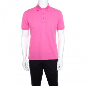 Valentino Pink Classic Pique Rockstud Untitled Polo T-Shirt M - used