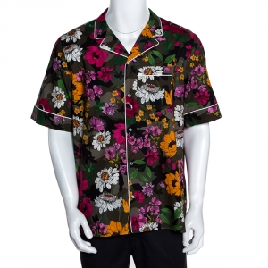 Valentino Multicolor Cotton Dew Camou Print Contrast Piping Detail Shirt XL