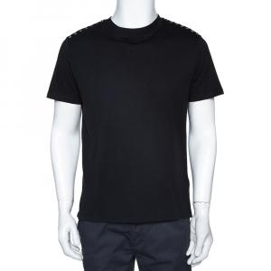 Valentino Black Cotton Rockstud Embellished Crew Neck T Shirt M