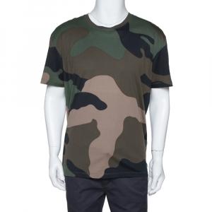 Valentino Green Macrocamouflage Print Cotton Crew Neck T-Shirt XL