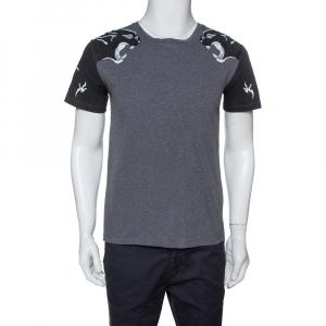 Valentino Grey Cotton Jersey Panther Souvenir T- Shirt S