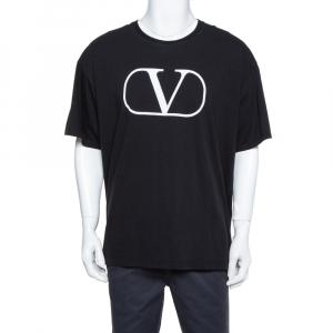 Valentino Black Knit Logo Printed Crewneck T-Shirt L - used