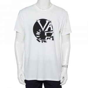 Valentino White Cotton Spiral Logo Print T-Shirt XL