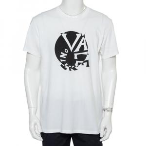 Valentino White Cotton Spiral Logo Print T-Shirt XL - used
