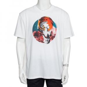 Valentino White Soul Planets Printed Cotton Crewneck T-Shirt XL - used