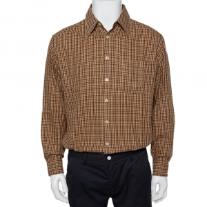 Valentino Chemises Vintage Brown Checkered Cotton Button Front Shirt XXL - used