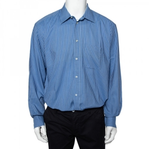Valentino Chemises Vintage Blue Striped Cotton Button Front Shirt XXL - used